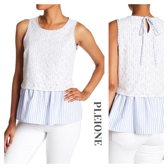c08fa3cd781ff Pleione Sleeveless Stripe Blouse Blue White